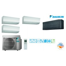 Sistem aer conditionat Daikin pentru 4 incaperi, multisplit, capacitate 8,00 kW, 18000 btu Stylish Blackwood + 3x9000 btu Perfera, Refrigerant R32, clasa A+++/A++, Bluevolution Inverter